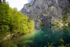 Obersee, Koenigssee, at Berchtesgaden, Upper Bavaria, Bavaria, Germany