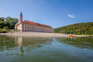 Weltenburg Abbey on the Danube River, from boat