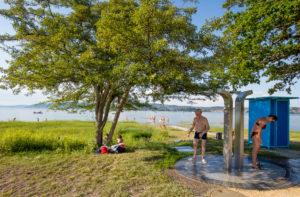 Bodensee, seaside resort, lido Dingelsdorf, summer, sun, blue sky, water, bathing, Germany, Baden Württemberg
