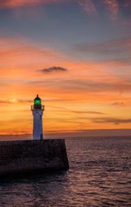 Normandy, lighthouse, English Channel, sunset, sunset, sunset,