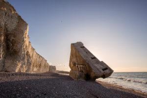 Normandy, alabaster coast, beach, German bunker, dumped, ruin, Atlantic wall,