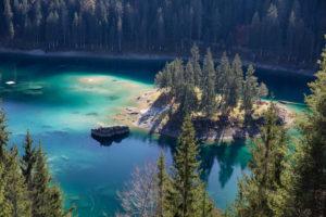 Lake Cauma, turquoise water, autumn, forest,