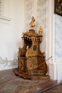 Raitenhaslach Monastery, interior view of the church, confessional