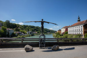 Salzach bridge Burghausen, Ikarus statue, bronze figure