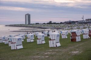 Büsum, beach chairs, beach, high-rise, North Sea
