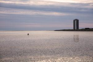Büsum, North Sea, beach, high-rise, evening