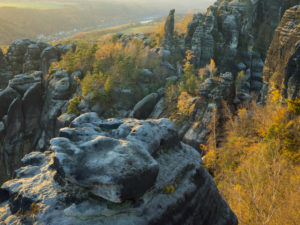 Autumn landscape at the Schrammsteine, Saxon Switzerland, Elbe Sandstone Mountains, Germany,