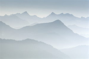Mountains, summits, silhouette,  Germany, Bavaria, Karwendel,   Landscape, highland, mountain landscape, mountains, summits, mountain , mood, color mood, color light-blue, blue, farsightedness, view, outlook,
