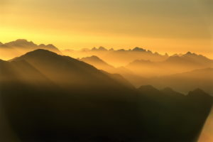 Mountains, summits, silhouette, sunset,  Germany, Bavaria, Ammergauer Alps,   Landscape, highland, mountain landscape, mountains, summits, time of day, evening, back light, Upper Bavaria, full of atmosphere, mood color mood color orange, farsightedness, view,