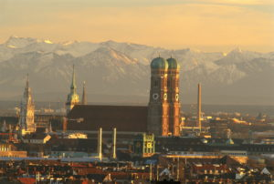 """Germany, Bavaria, Munich, city-opinion, women-church, background, mountains, dusk, Southern Germany, waiter-Bavaria, """"cathedral to our loves woman"""", landmarks, foyer-church, towers, dome-towers, two, """"Welscher bonnets"""", church, place of worship, sacral-construction, sight, style, Gothic, historically, dear-women-cathedral, architecture, outside, mountains, Alps, farsightedness, view, outlook,"""