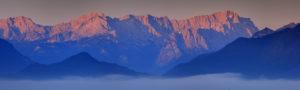 Deutschland, Bayern, Oberbayern, Werdenfelser Land, Zugspitzmassiv, Nebel,