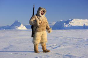 Grönland, Qaanaaq, Mann, Inuit, Gewehr, Landschaft,