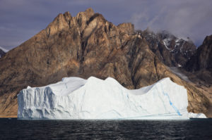 Greenland, East Greenland, Scoresbysund, icebergs, coastal scenery, mountain landscape,