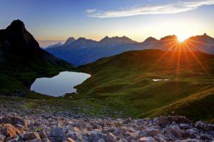 Deutschland, Bayern, Allgäu, Oberallgäu, Allgäuer Alpen, Rappensee, Kleiner Rappenkopf (2276m), Großer Widderstein (2533m), Geißhorn (2366m), Liechelkopf (2383m), Elferkopf (2387m), Schafalpenköpfe,
