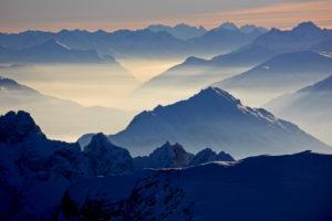 Germany, Bavaria, Upper Bavaria, Werdenfelser Land, Bavarian Alps, Zugspitze, Wetterstein Mountains, in the foreground: Tschirgant, behind: Piz Zupo, Piz Palü, Piz Bernina, Piz Mundin, Swiss Alps
