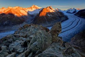 Switzerland, Canton Valais, Eggishorn, Aletsch Glacier, Aletschhorn, Kleines Dreieckshorn, Dreieckshorn, Jungfrau, Eiger, Mönch