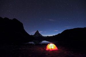 Switzerland, canton of Valais, Matterhorn, Riffelsee, tent, camping