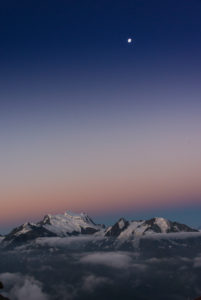 Schweiz, Kanton Wallis, Bezirk Entremont, Verbier, Sonnenaufgang, 3329 m hoher Mont-Fort