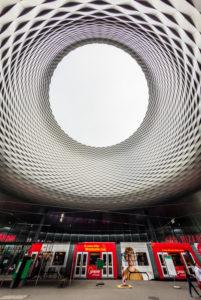 Neues Messegebäude 'Das Auge zum Himmel' in der 'City Lounge' am Messeplatz, Basler MCH Messe, Basel, Kanton Basel-Stadt, Schweiz