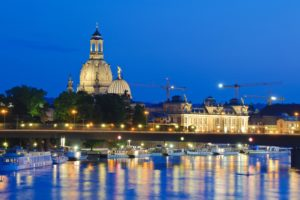 View over the Elbe on baroque old town, Brühl's Terrace, Church of Our Lady, ships of the Weiße Flotte, dusk, Dresden, Saxony, Germany,