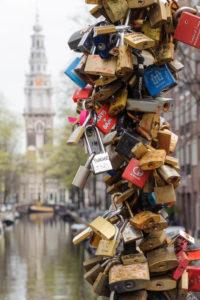 Love' locks on a bridge, Amsterdam, Holland, Netherlands