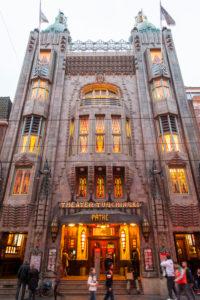 Historical cinema 'Tuschinski', dusk, night, Amsterdam, Holland, Netherlands