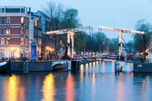 Drawbridge Nieuwe 'Herengracht' with dusk, Amsterdam, Holland, Netherlands