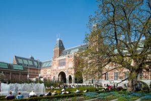 Museumplein, garden Rijksmuseum, Amsterdam, Holland, Netherlands