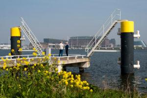 Ij, pier, harbour IJ, Amsterdam-Noord (borough), Amsterdam, Holland, Netherlands