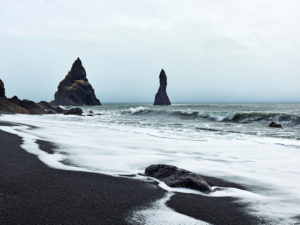 Surf, water, sea, ocean, South Icelandic coast, South Iceland, cliff, rocks, rock needle, waves, lava beach, black sand, lava stones
