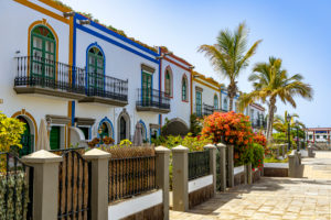 Restored colorful houses in popular port town of Puerto de Mogan, southwest Gran Canaria, Spain