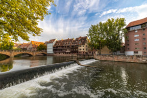 View of Pegnitz River and Maxbrücke in the afternoon, Nuremberg city center, Franconia, Bavaria, Germany