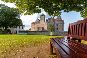 Bench under large linden tree in the courtyard of Cadolzburg Castle in the late afternoon, Cadolzburg, Franconia, Bavaria, Germany