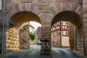 Arch bridge in Burgstrasse at Cadolzburg Castle, Franconia, Bavaria, Germany