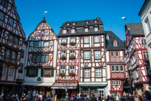 Half timbered houses on market square in Bernkastel-Kues, Moselle valley, Rhineland-Palatinate, Germany