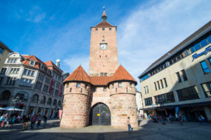 Weisser turm, white tower, in the pedestrian zone, Nuremberg, Bavaria, Germany