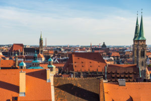 Overlook over the medieval center of the town of Nuremberg, Bavaria, Germany