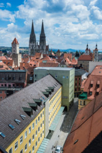 Overlook over the Unesco world heritage sight Regensburg from the tower of the Church of the Holy Trinity, Bavaria, Germany
