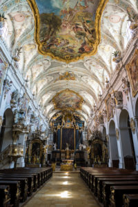 Interior of the romanesque St. Emmeram's Basilica (abbey) now known as Schloss Thurn und Taxis, Unesco world heritage sight, Regensburg, Bavaria, Germany