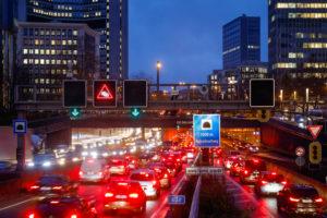 Traffic jam during evening rush hour traffic on the Ruhrschnellweg tunnel on the A40 motorway, Essen-Zentrum junction, Essen, Ruhr area, North Rhine-Westphalia, Germany