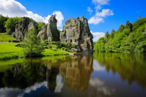 Externsteine, sandstone rock formation in the Teutoburg Forest, Horn-Bad Meinberg, North Rhine-Westphalia, Germany