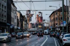 ThyssenKrupp steelworks, city view in Duisburg-Bruckhausen, Duisburg, Ruhr area, North Rhine-Westphalia, Germany, Europe
