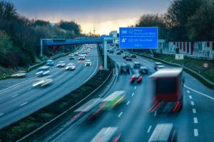 Rush hour traffic on the Ruhrschnellweg Autobahn A40, Dortmund, Ruhr area, North Rhine-Westphalia, Germany