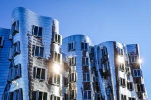 Gehry houses, Neuer Zollhof in the Medienhafen, Duesseldorf, North Rhine-Westphalia, Germany
