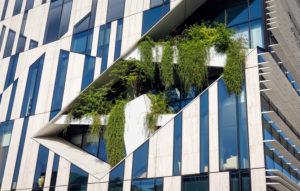 Duesseldorf, North Rhine-Westphalia, Germany, green facade planting, Koe-Bogen at the Koenigsalle.