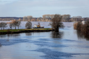 Lippe, flood in the renatured floodplain area at the mouth of the Lippe into the Rhine, Wesel, Lower Rhine, North Rhine-Westphalia, Germany