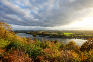 Essen, North Rhine-Westphalia, Ruhr Area, Germany, the Korte-Klippe is a lookout point on the BaldeneySteig hiking trail on Lake Baldeney.