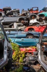 Bottrop, North Rhine-Westphalia, Germany - old cars in a junkyard.