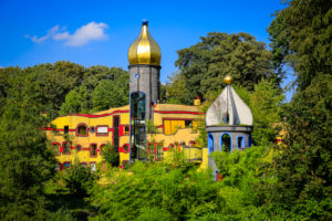 Essen, North Rhine-Westphalia, Ruhr Area, Germany, Grugapark, park area of the Federal Horticultural Show 1965, Ronald McDonald House Essen, the Hundertwasser House in Grugapark on the occasion of the Essen 2017 Green Capital of Europe.