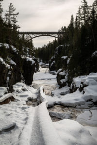 alte Eisenbahnbrücke im Winter, Storstupet, Orsa